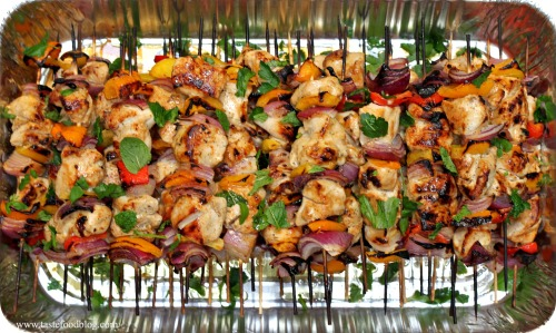 pomegranate chicken skewers tastefood