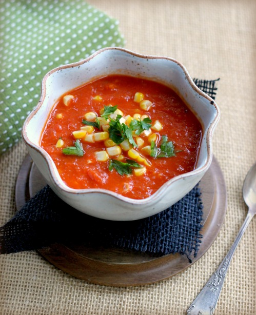 Slow Roasted Tomato and Red Pepper Soup with Sweet Corn ...