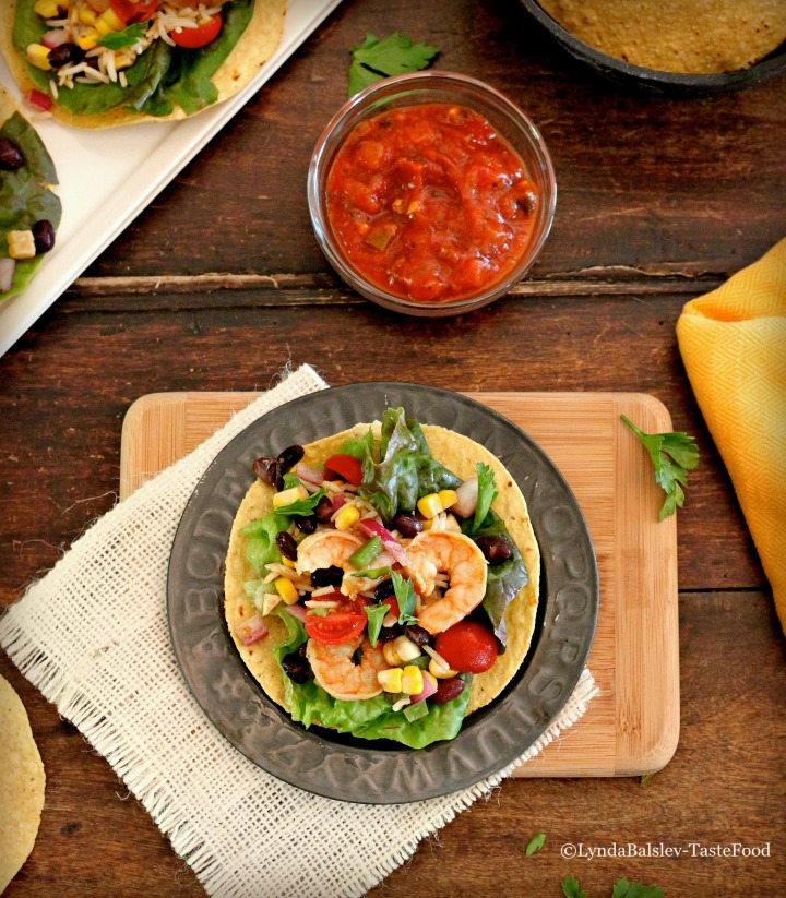 Lime Marinated Shrimp Tostadas with Black Bean Salsa and Spicy Rice