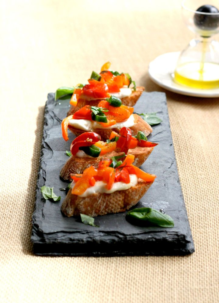 Hot and Sweet Pepper Crostini