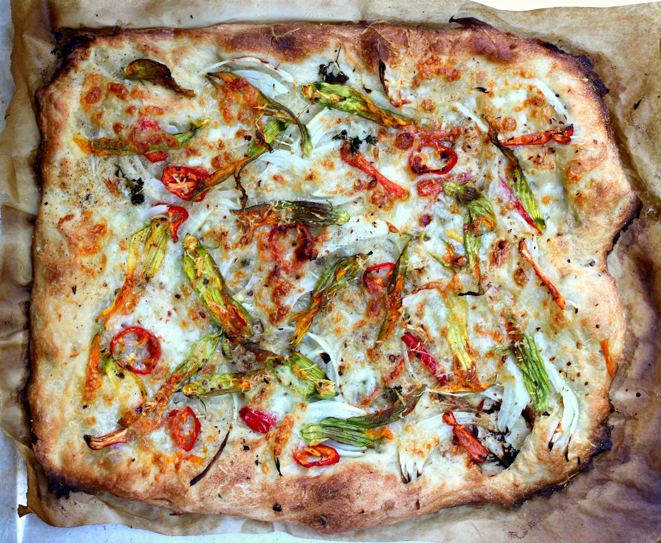 Squash Blossom Pizza with Sweet Peppers, Onion, and Pecorino ...