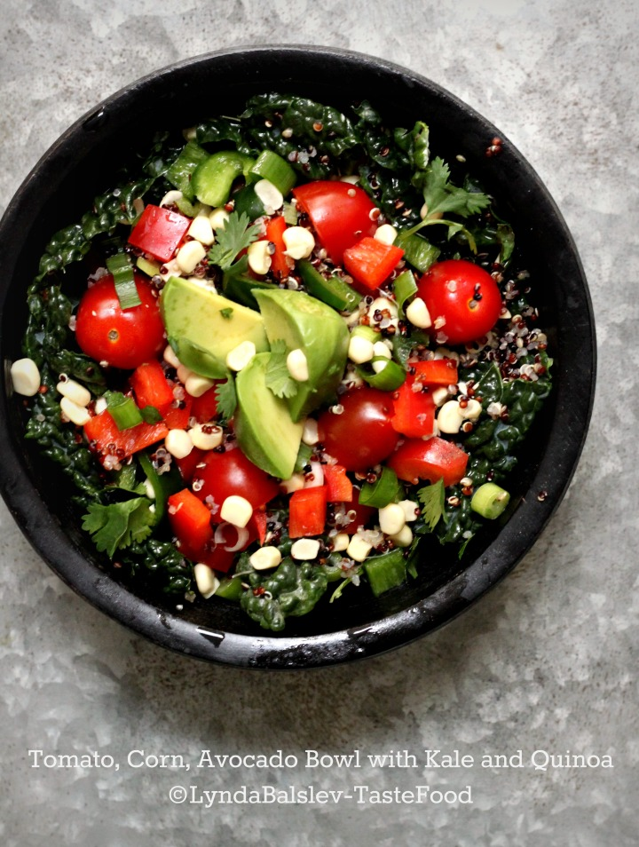 Tomato, Corn, and Quinoa Bowl with Kale and Avocado