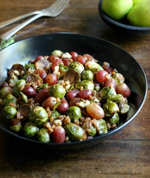 Roasted Brussels Sprouts and Grapes with Farro and Walnuts | TasteFood