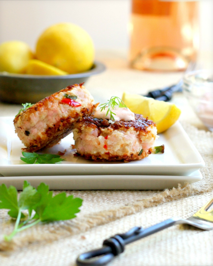 Homemade smoky salmon fish cakes