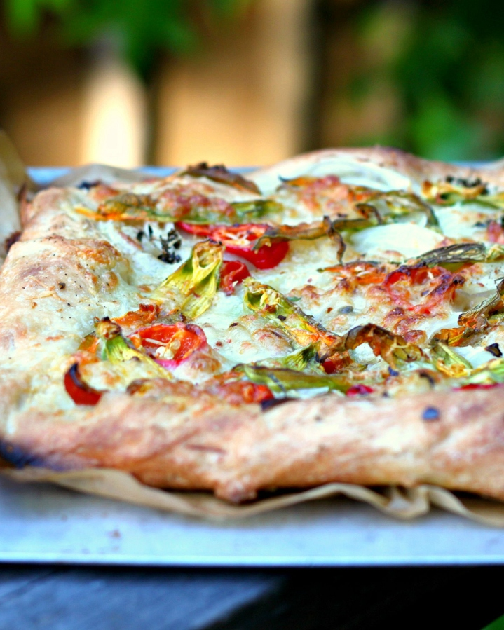 Grilled Pizza with Squash Blossoms