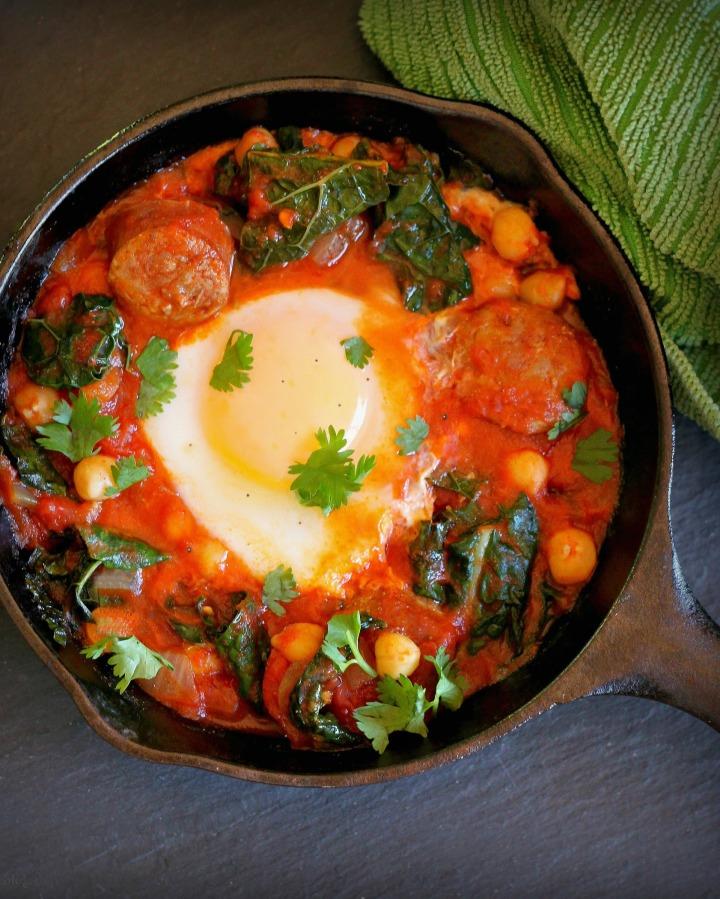 Egg, Sausage, Kale Ragout