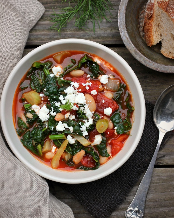 White Bean, Kale, Tomato Ragout with Ouzo and Feta