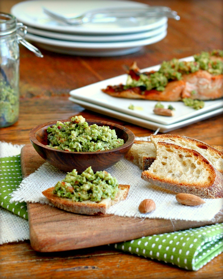 Green Olive Tapenade Topping on Roasted Salmon