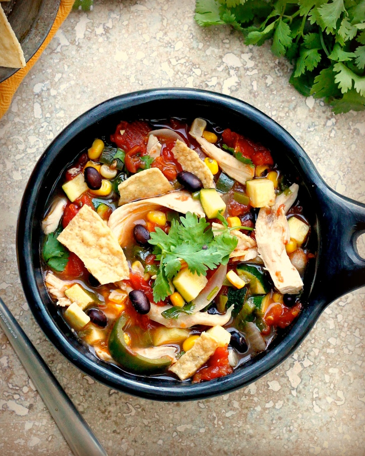 Hearty Chicken and Black Bean Tortilla Soup